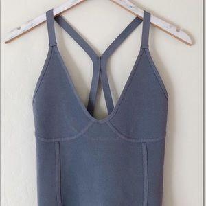 Zara Knit Blue Stretch Sleeveless Crop Top in M